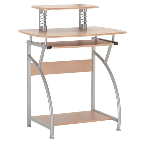 Chico Computer Desk Computer Desk Office Pc Workstation Silver Metal And Wood Ebay
