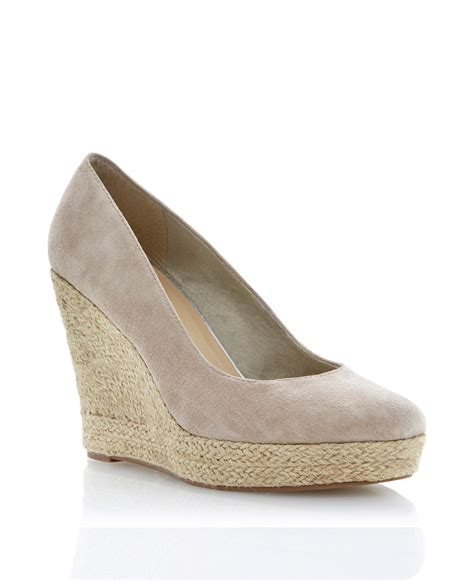beige shoes linea antipasto suede espadrille wedge court shoes in