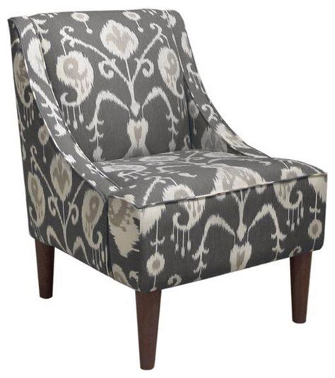Ikat Arm Chair Design Ideas Quinn Swoop Arm Chair Smoke Gray Ikat Contemporary Armchairs And Accent Chairs By One