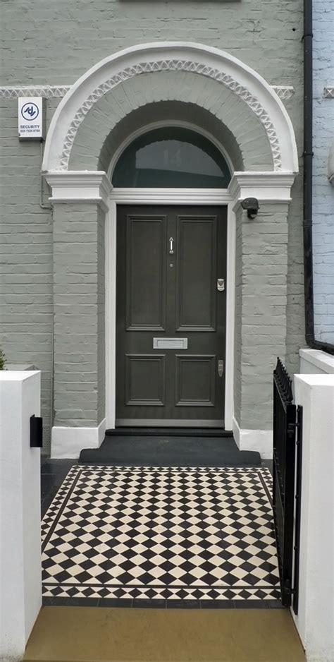 Black And White Victorian Mosaic Tile Path London Garden Front Door Tiles