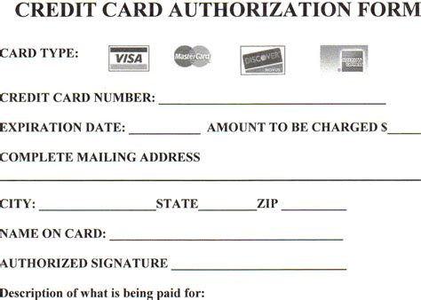 Credit Card Information Template Summerreg2004