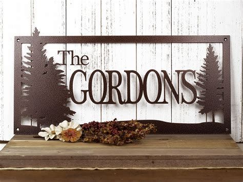 buy a crafted custom family name metal sign pine trees outdoor sign 20 x 10 made to