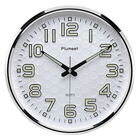 amazon com plumeet large number wall clock 13 silent non ticking night light function plumeet 13 inch wall clock with