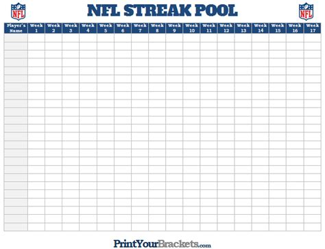 nfl pool template nfl streak pool printable football streak survivor pool