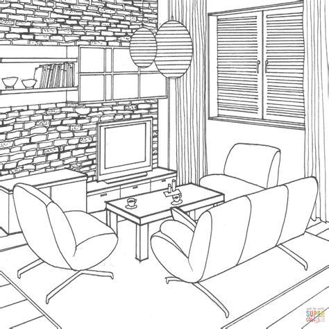 imagenes para pintar interiores de casas dibujo de muro de piedra en la sala de estar para colorear
