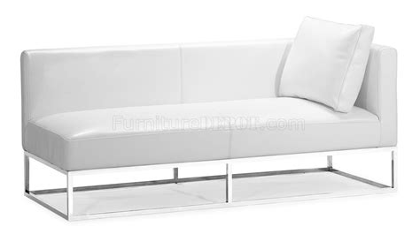 white modern bench white bycast leather contemporary bench with one side armrest