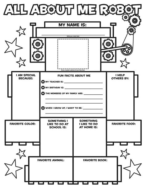 poster design worksheet all about me robot graphic organizer posters sc 054501462x