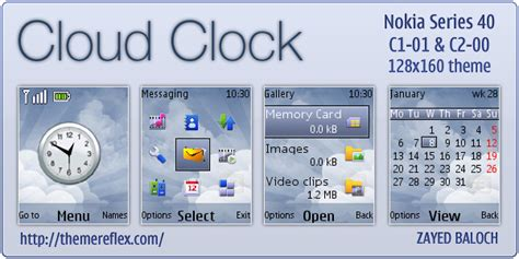 themes clock c1 cloud clock theme for nokia c1 01 c2 00 themereflex