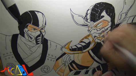 imagenes de mortal kombat para dibujar faciles dibujando a sub zero vs scorpion youtube