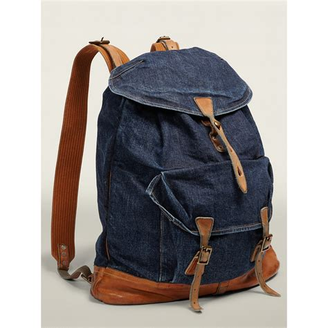 Denim Backpack rrl denim backpack in blue for lyst