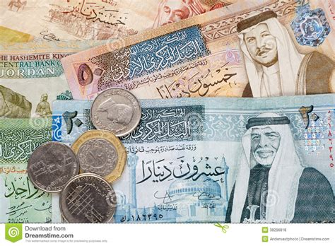 Dinar Maxy 6 jordanian dinar banknotes and coins stock photo image of