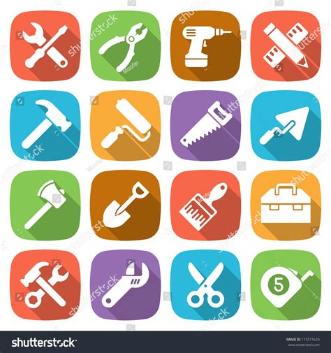 working tools flat icon set stock vector image 40282698 trendy flat working tools icons vector stock vector