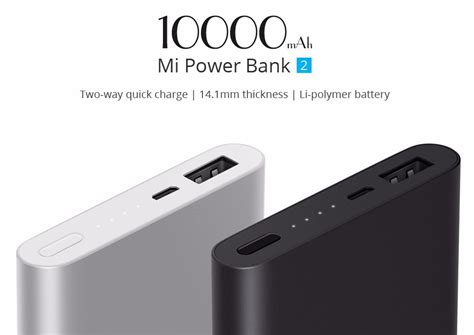 Xiaomi Mi Powerbank 2 10000 Mah Original Black original xiaomi power bank 2 10000mah charge 2 0
