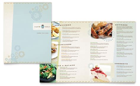 cafe deli menu template word publisher