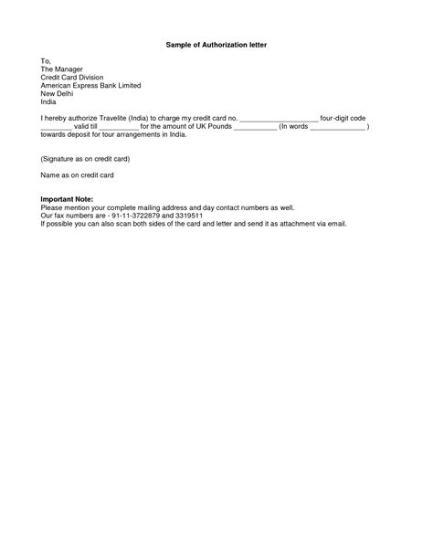 authorization letter format doc format for authorisation letter best template collection