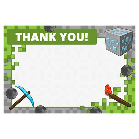 minecraft printable thank you cards mining party supplies mining fun thank yous invites and