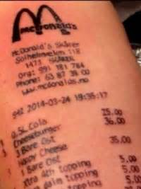 mcdonalds receipt tattoo pictures worst designs mcdonalds receipt