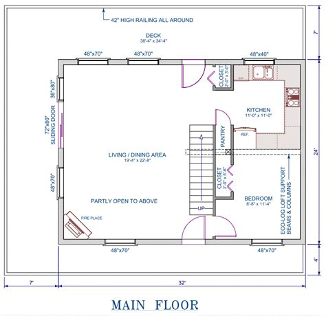 Small House Plans 24 X 32 Log Cottage Floor Plan 24 X32 768 Square