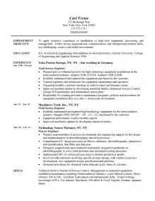 Semiconductor Engineer Sle Resume by Field Engineer Resume Exle Engineering Sle Resumes