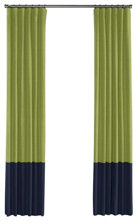 navy linen curtains moss green and navy linen color block curtain single