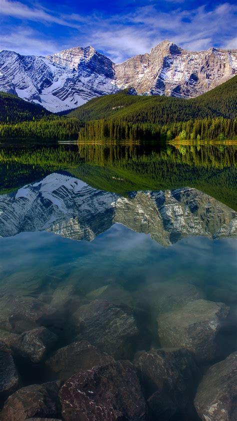 mountain landscape reflection mountains lake rocks iphone