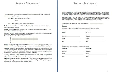 service agreements templates service agreement template formsword word templates