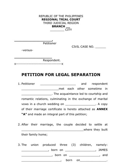Petition Letter For Annulment Petition For Separation Form