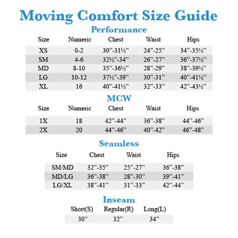 Sport Bra Size Chart Breeze Clothing