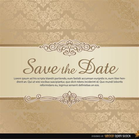 damask save the date vector template freevectors net