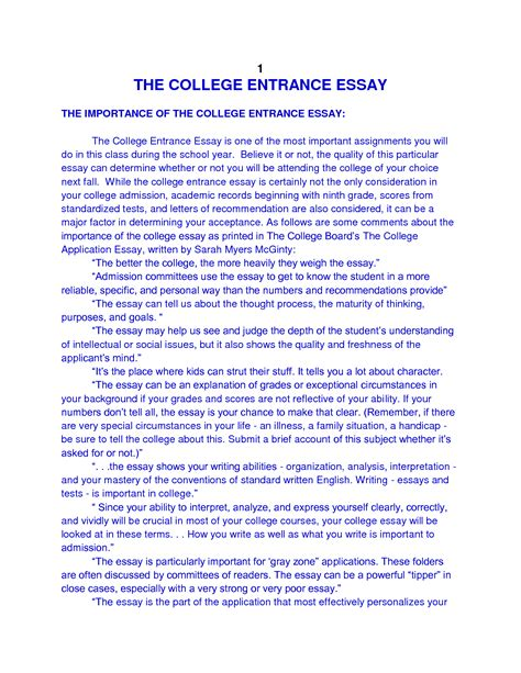 College Entry Essay Sles by College Essay Sales