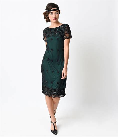 Dynamic Style Dress Black 1920s style green black flapper dress flapper follies black flapper dress