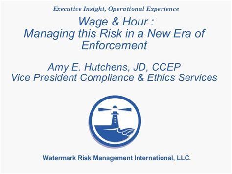 insights you can put to use watermark consulting 706 wage hour managing this risk in a new era of