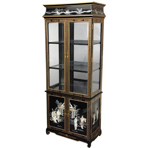 what goes in a curio cabinet oriental furniture black mother of pearl ladies lacquer