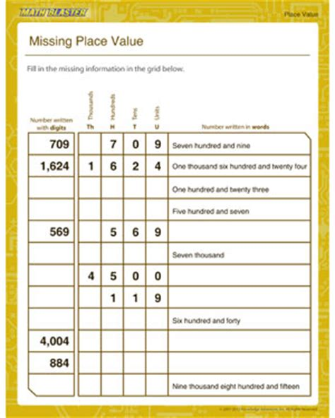 The Missing Place missing place value free place value worksheets