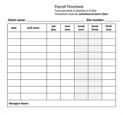 payroll timesheet template 8 free download for pdf