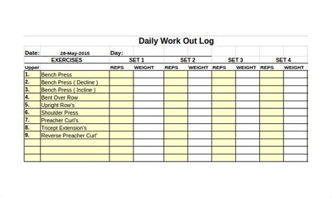eps format in excel workout log template 14 free word excel pdf vector