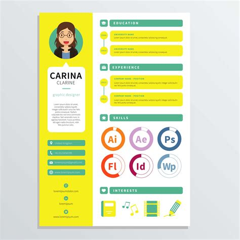 template design graphic graphic designer resume template free vector