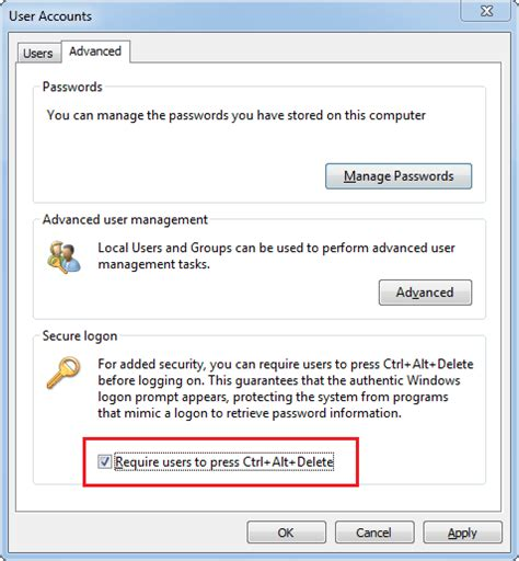 security logon is 3 options to disable press ctrl alt to log on in windows password recovery