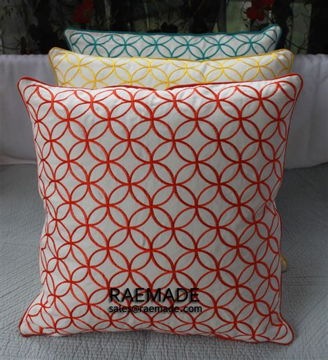 yellow decorative bed pillows yellow or coral red embroidered decorative pillow circle
