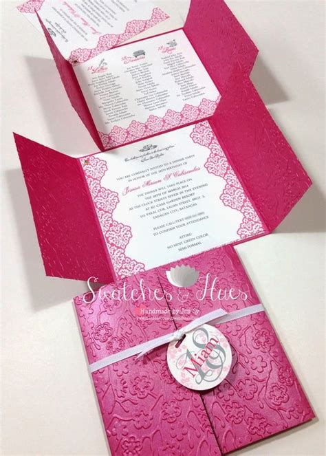 Handmade Princess Invitations - princess themed gate fold invites with embossed design