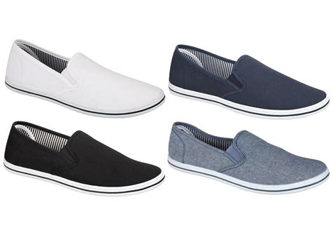 best shoes for boys with flat mens canvas plimsolls slip on flat pumps trainers casual
