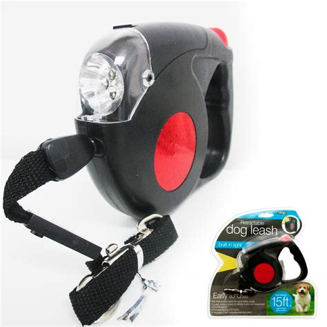 Automatic Retractable Leash With Led Flashlight Tali Anjing new 14 5 ft retractable pet leash with led flash light harness collar small ebay