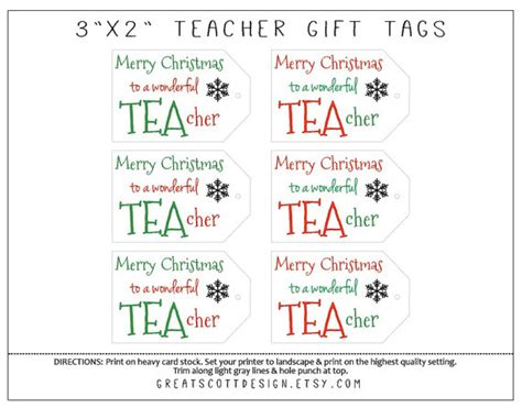 printable christmas gift tags for teachers printable teacher christmas gift tags teacher gift idea