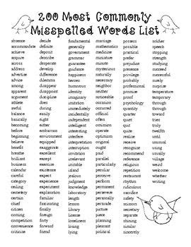 25 best ideas about spelling free200 spelling most commonly misspelled and misused