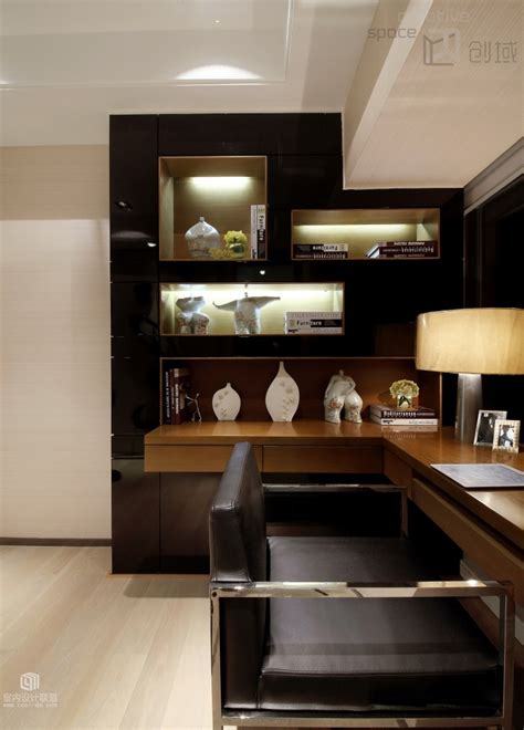 office decore sophisticated home with asian tone