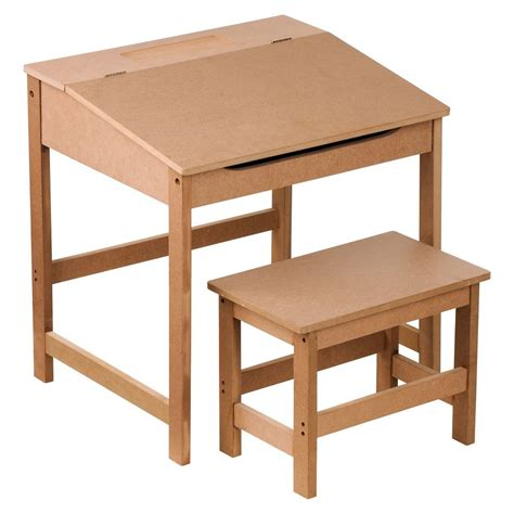 Childrens Kids Wooden Study Home Work Writing Reading Desk And Stool