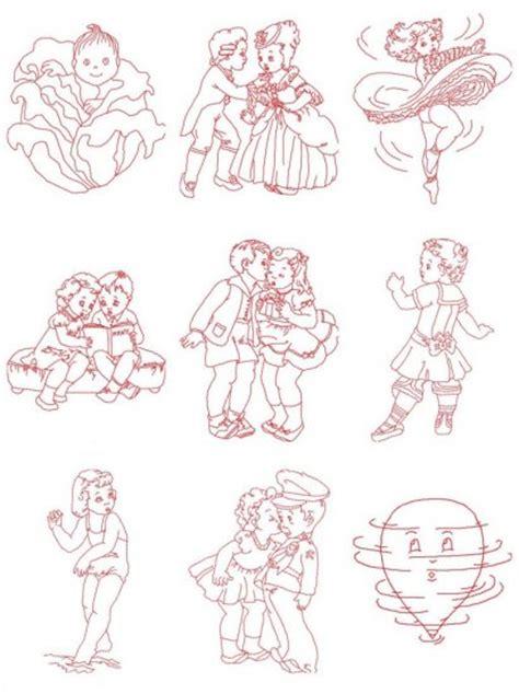 vintage embroidery pattern free redwork vintage children machine embroidery design