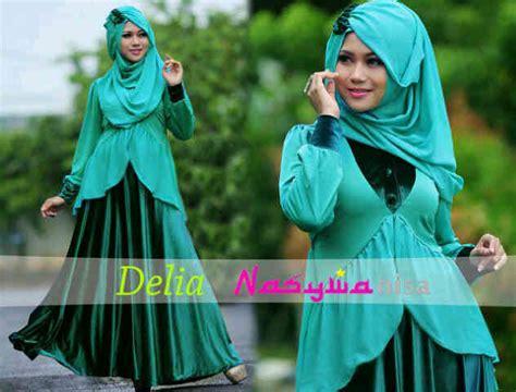 Aliza By Agoest Hanggono delia by nasywanisa hijau tosca baju muslim gamis modern
