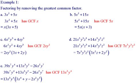 Factor The Common Factor Out Of Each Expression Worksheet by Factoring Gcf Worksheet Worksheets Releaseboard Free