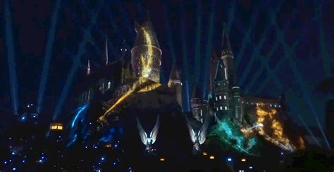 the new wizarding world of harry potter light show at